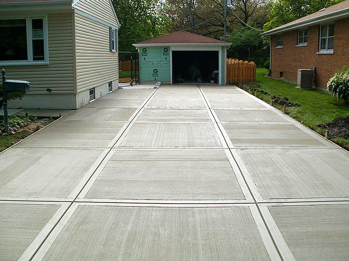 Home Residential Concrete Driveway Broom Technique Rose